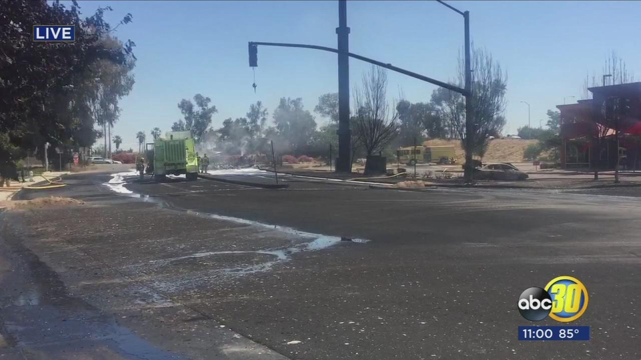 HWY 99 south closed in Atwater after overturned tanker causes large fire