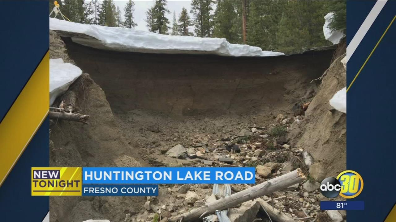 Winter storms cause road to crumble near Huntington Lake in Fresno County