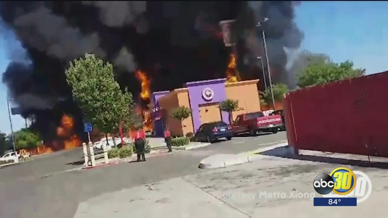 Overturned tanker causes massive fire in Atwater, driver dies at the scene