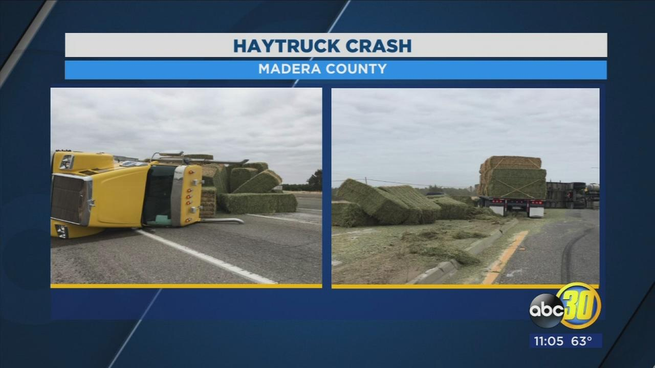Semi truck overturns, closing HWY 99 and HWY 152 interchange