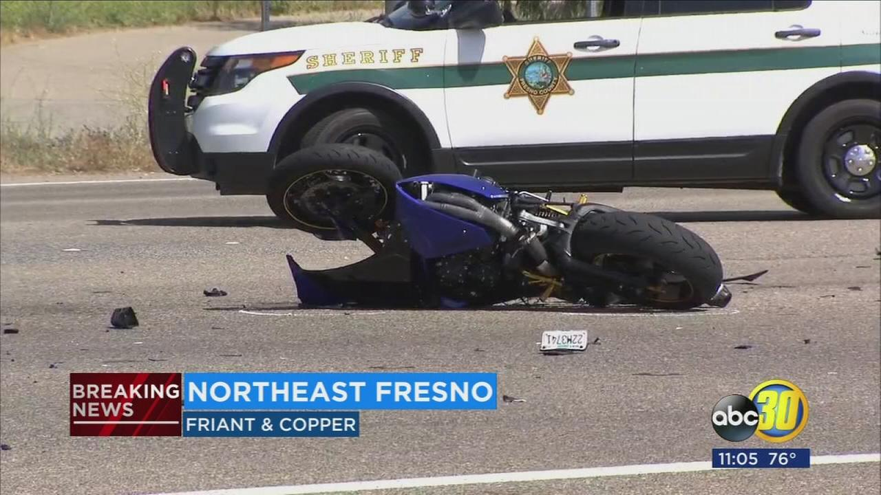 One person killed, on injured in Northeast Fresno motorcycle crash