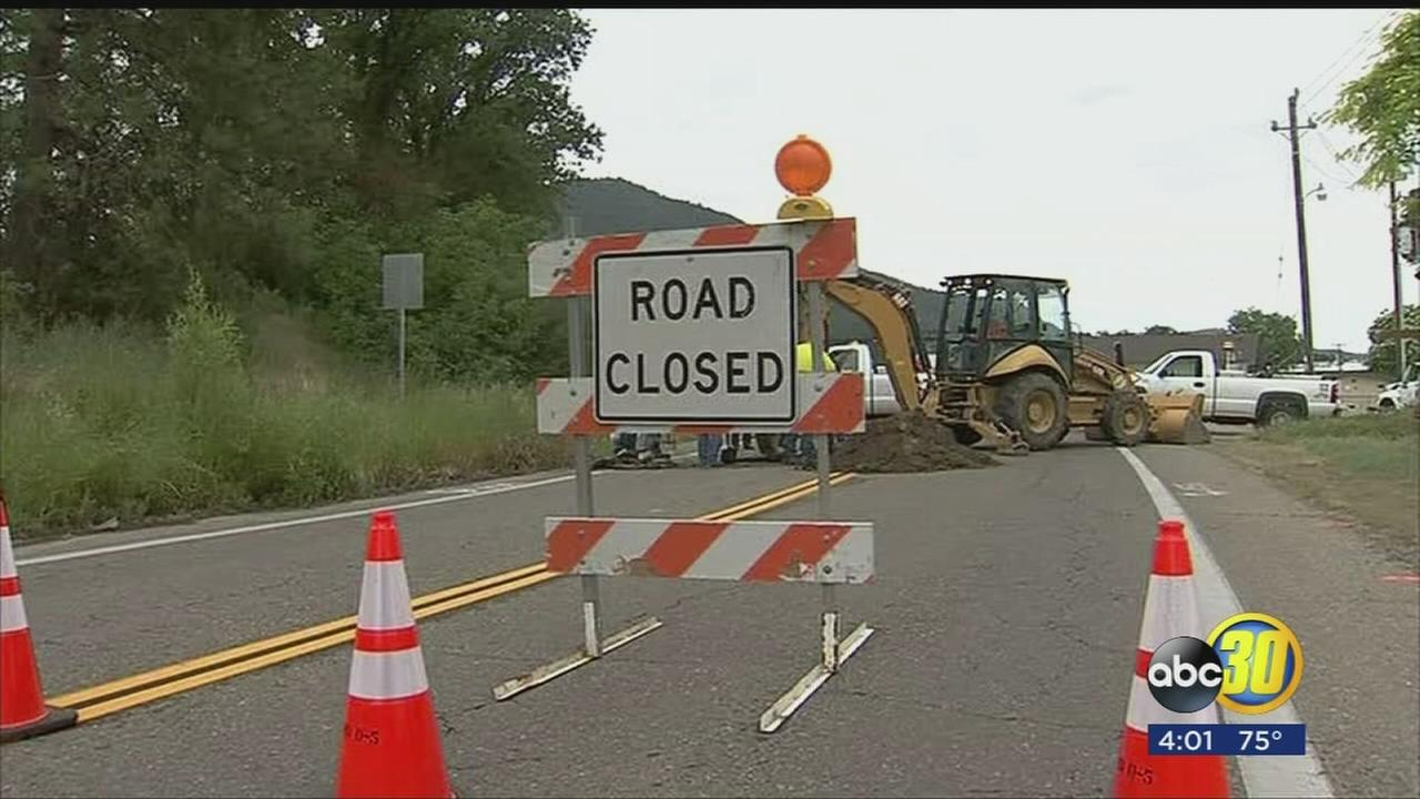 Sinkhole opens up in Madera County closing street