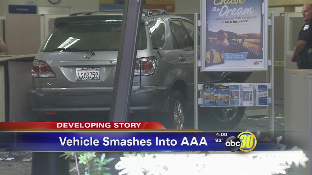 Several injured after SUV crashes into AAA office in Northwest Fresno