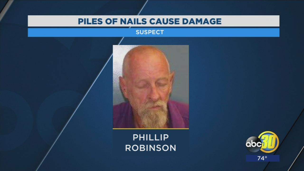 Man arrested in Porterville for spreading nails around police and fire station
