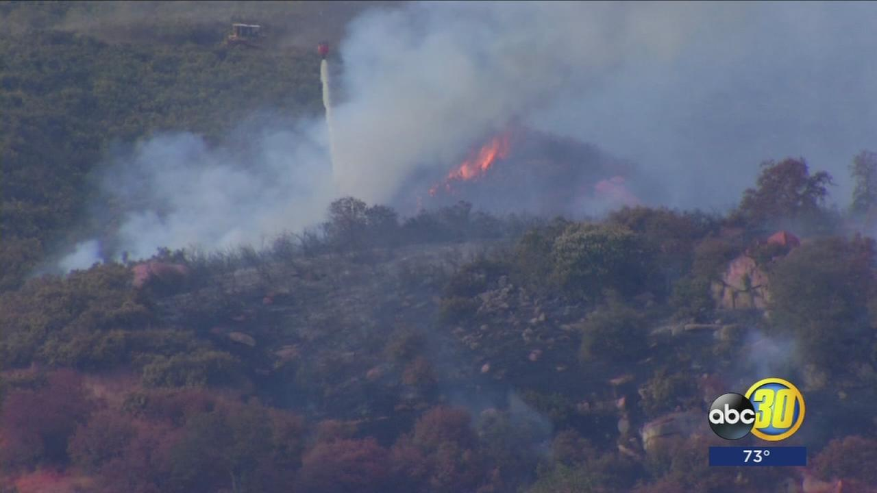 340 acre Dinely Fire burning near Three Rivers
