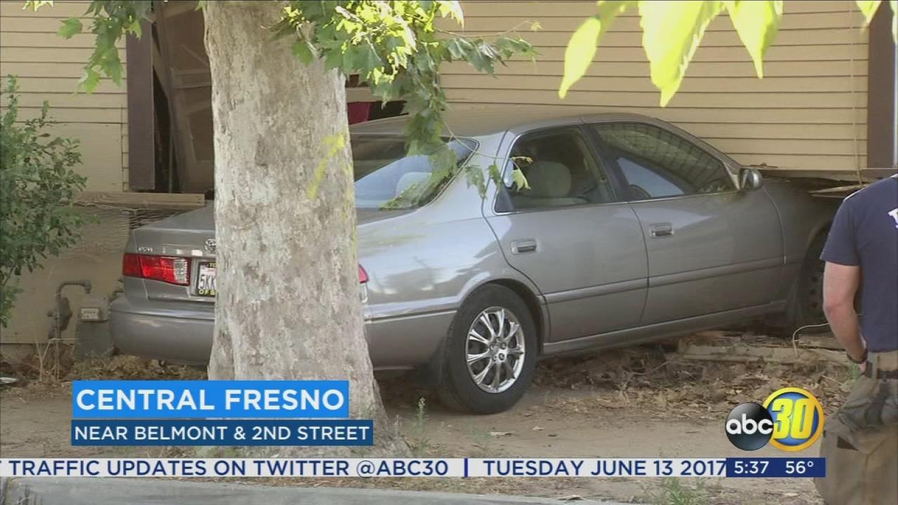 Car crashes into Central Fresno home