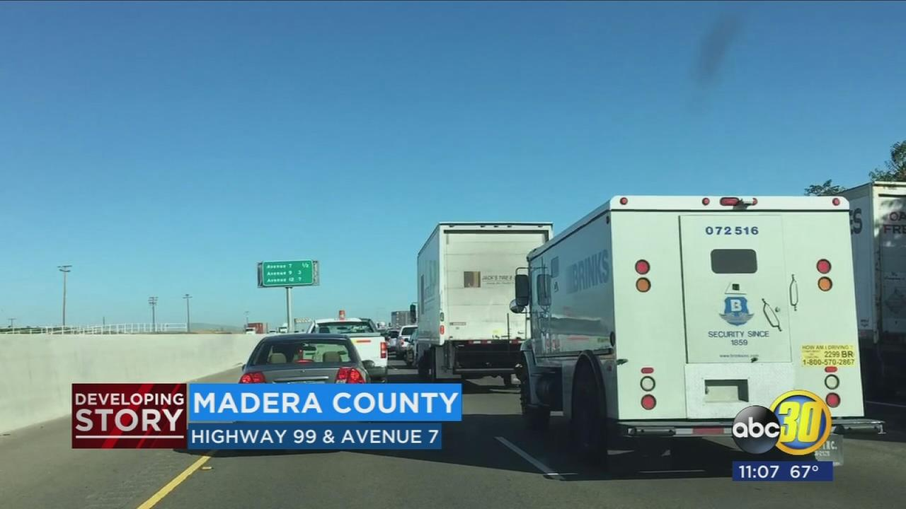 Big rig fire on Highway 99 causes traffic to back up