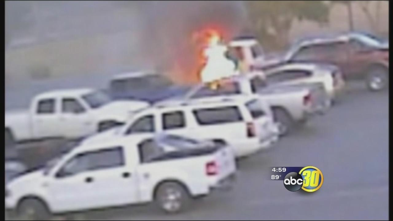 Visalia husband and wife set cars on fire while stealing gas, police say
