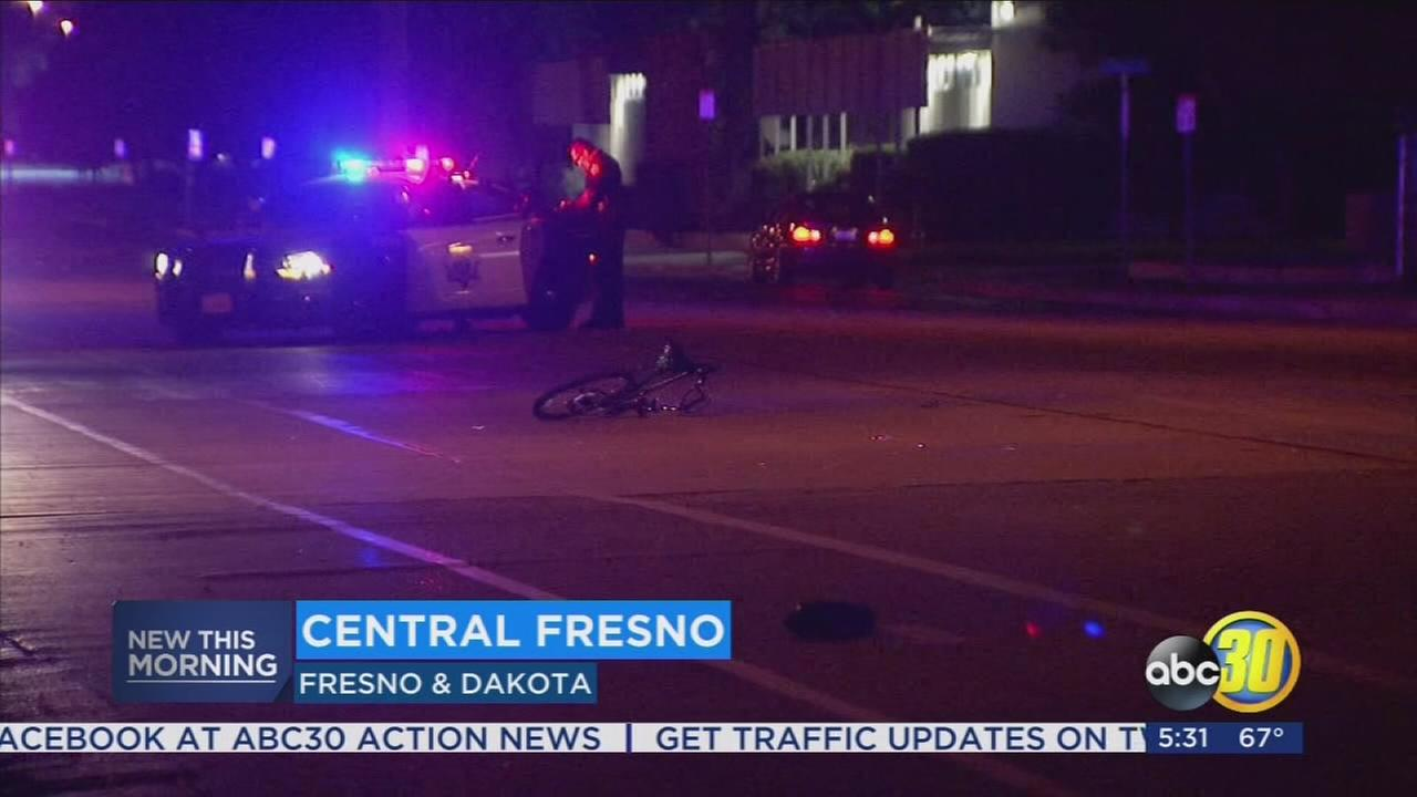 Bicyclist hit by a car in Fresno