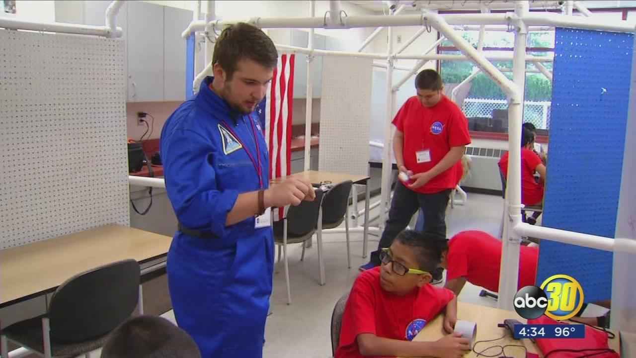 Dozens of Fresno County migrant students enjoying a two week space camp at Fresno State