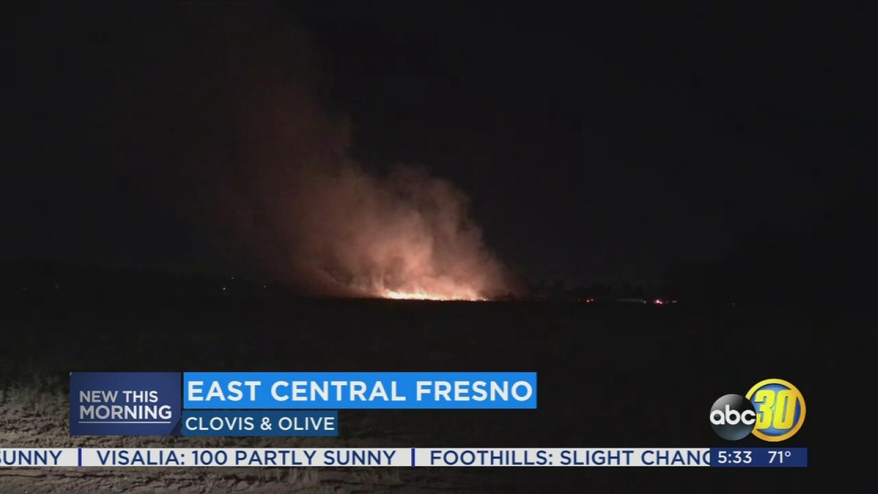 Fireworks blamed for grass fire in East Central Fresno