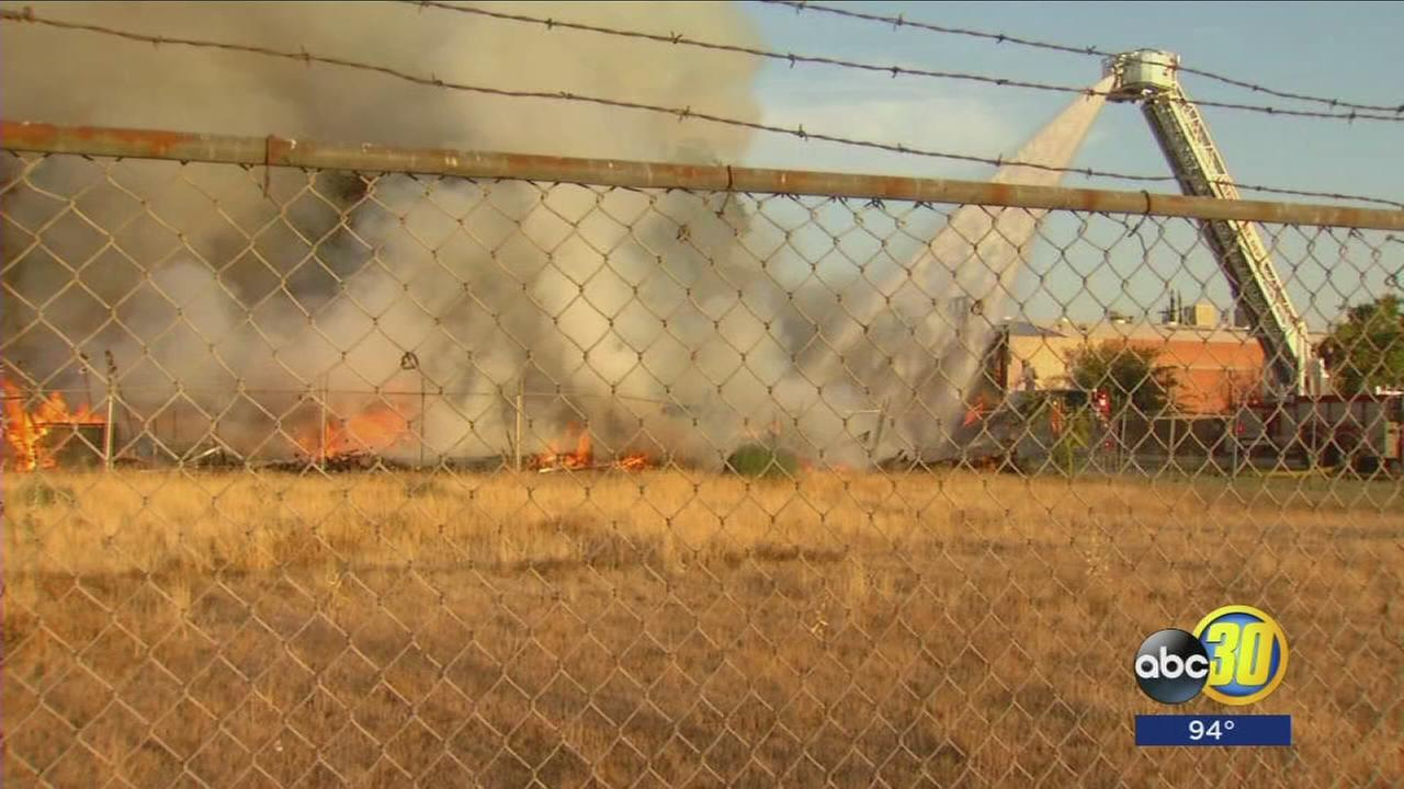 Abandon home destroyed by large fire in Southwest Fresno