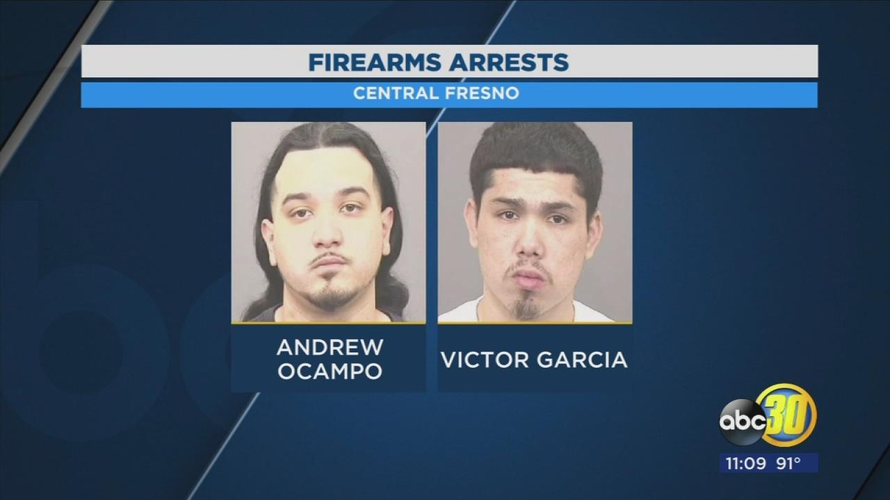 Two men arrested after stolen guns found during Fresno traffic stop