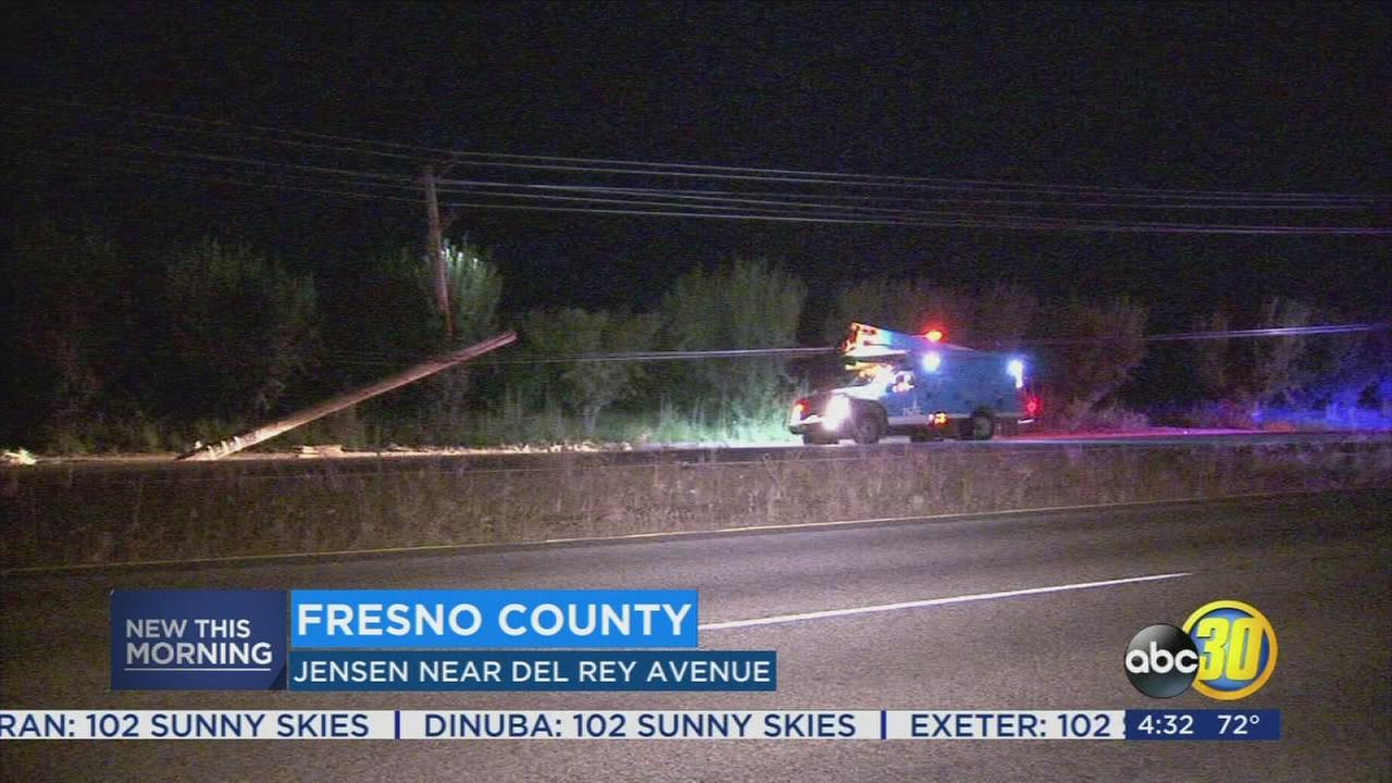 DUI driver arrested near Sanger after crashing into power pole, CHP says