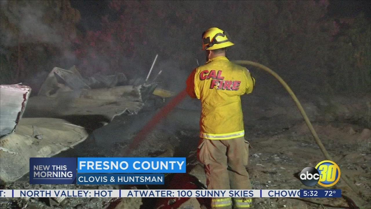 Cal Fire crews tackled a trailer fire in Fresno County