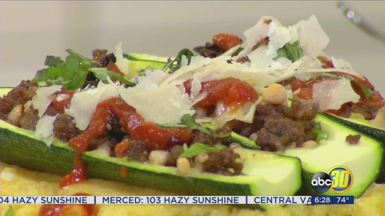 Chef Shayna: Stuffed Zucchini Boat over Polenta