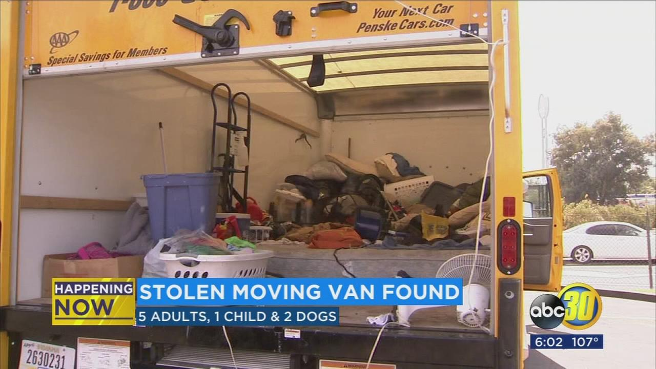 Fresno Police arrest driver of stolen moving truck, find 5 adults, child, and 2 dogs inside back of truck