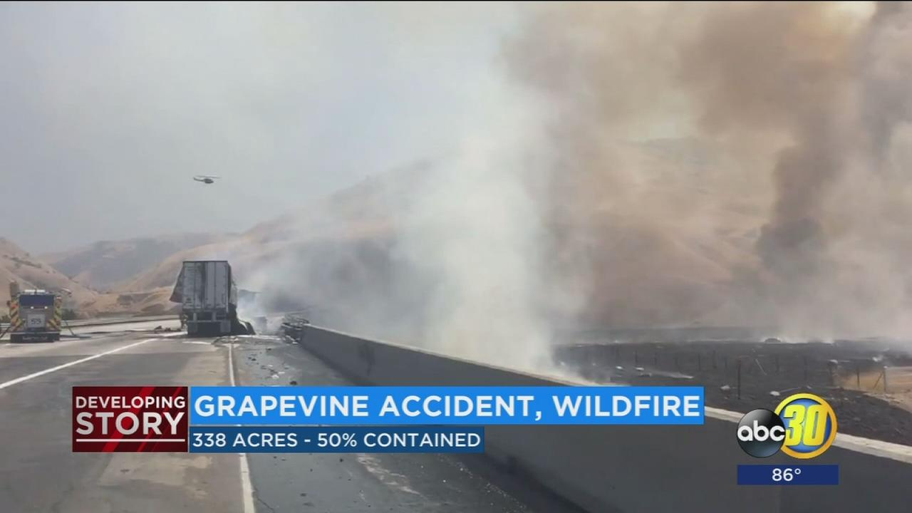 Tanker truck crash on I-5 causes grass fire snarling traffic for hours