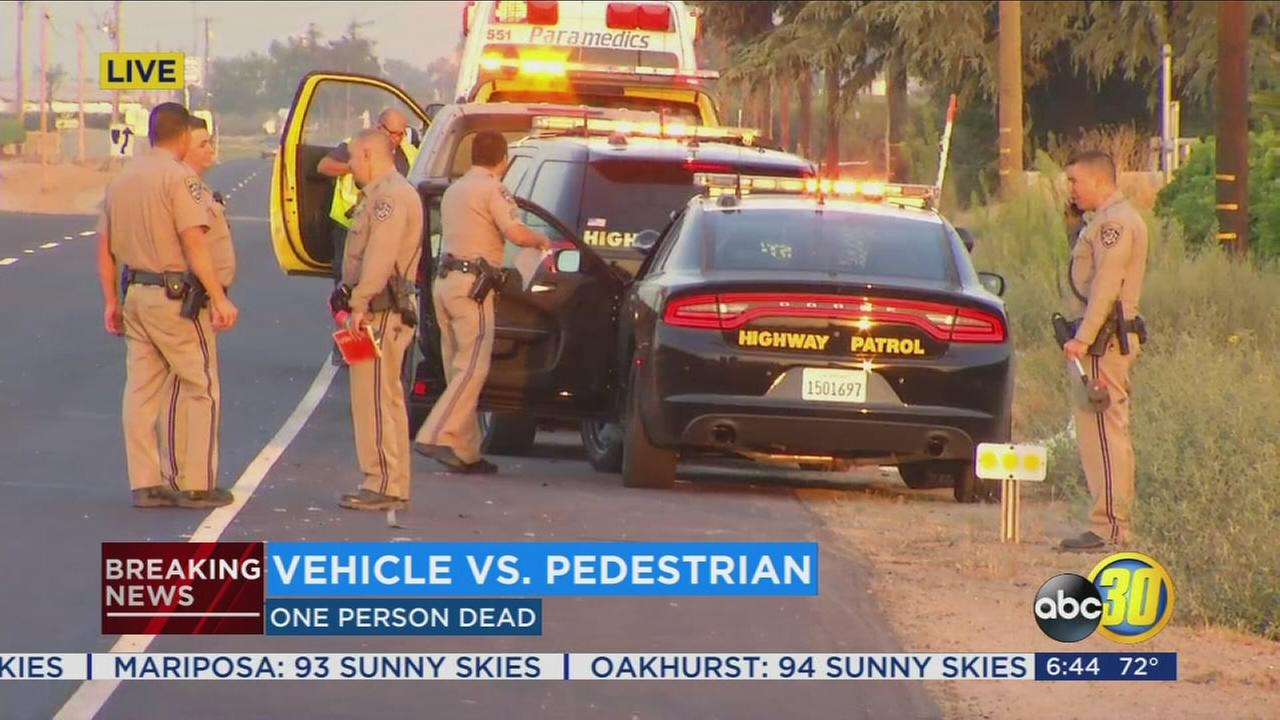 Car hits a pedestrian resulting in a fatality near Kingsburg