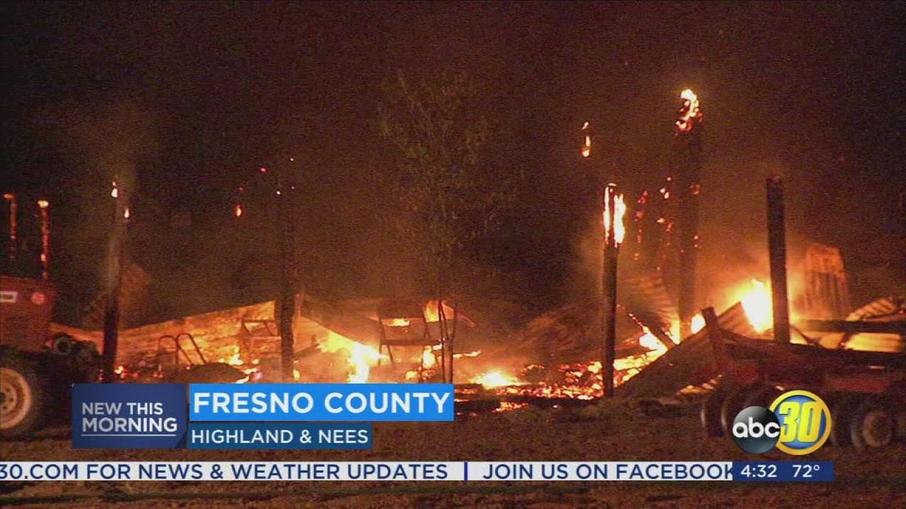 Fire destroys barn in Fresno County