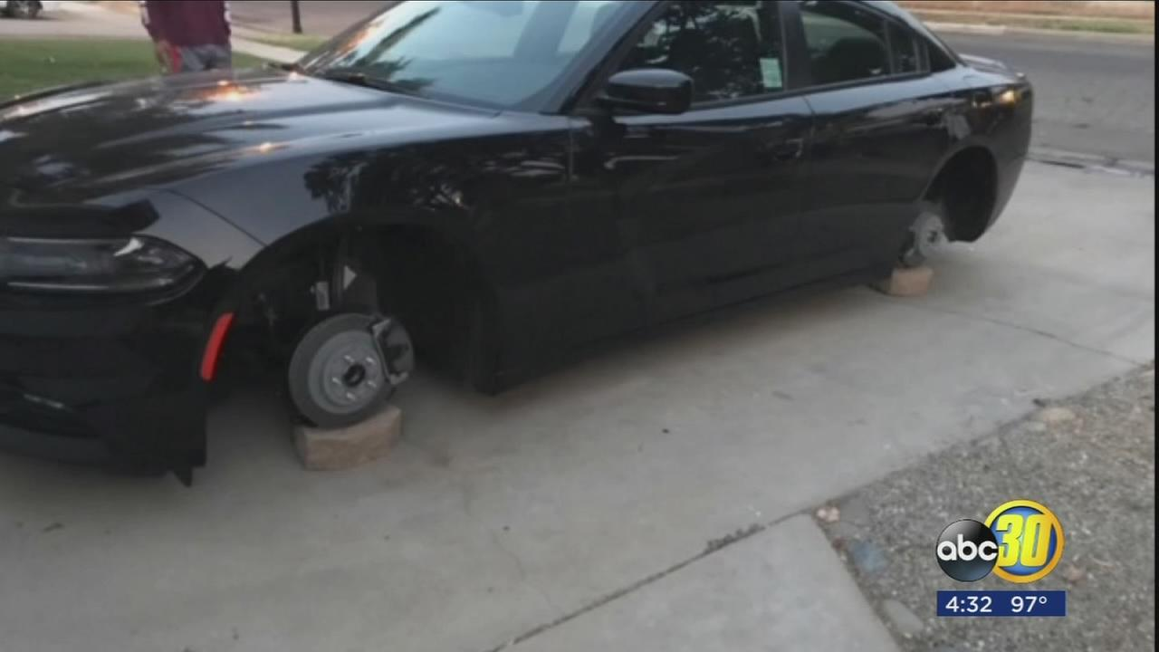 Fresno woman has tires stolen off new car in front of her home