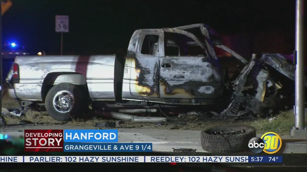 Two dead, four injured after two pickups crash in Hanford