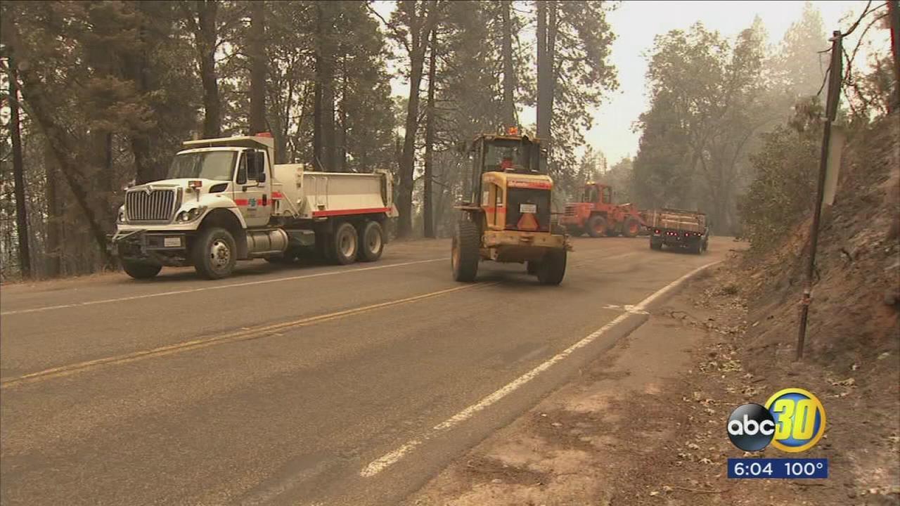 Road crews cutting down dead trees along Highway 41 near Sugar Pine to curb fire danger