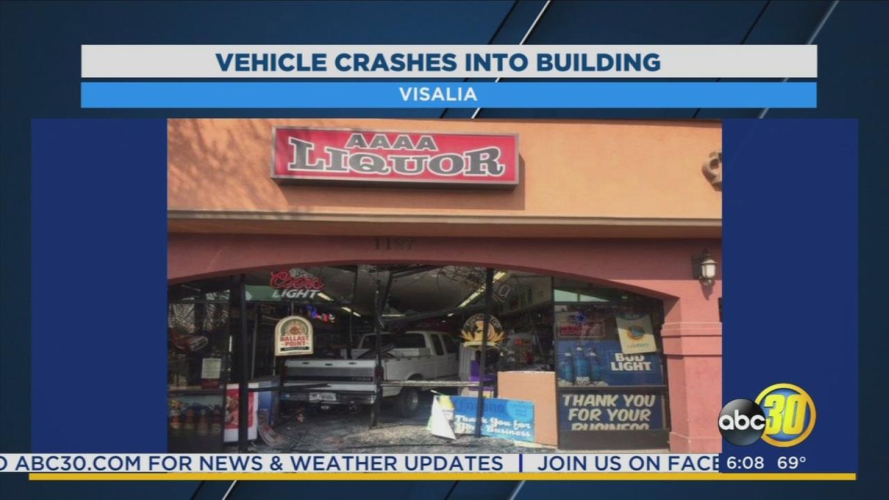 Pickup truck crashes into Visalia liquor store