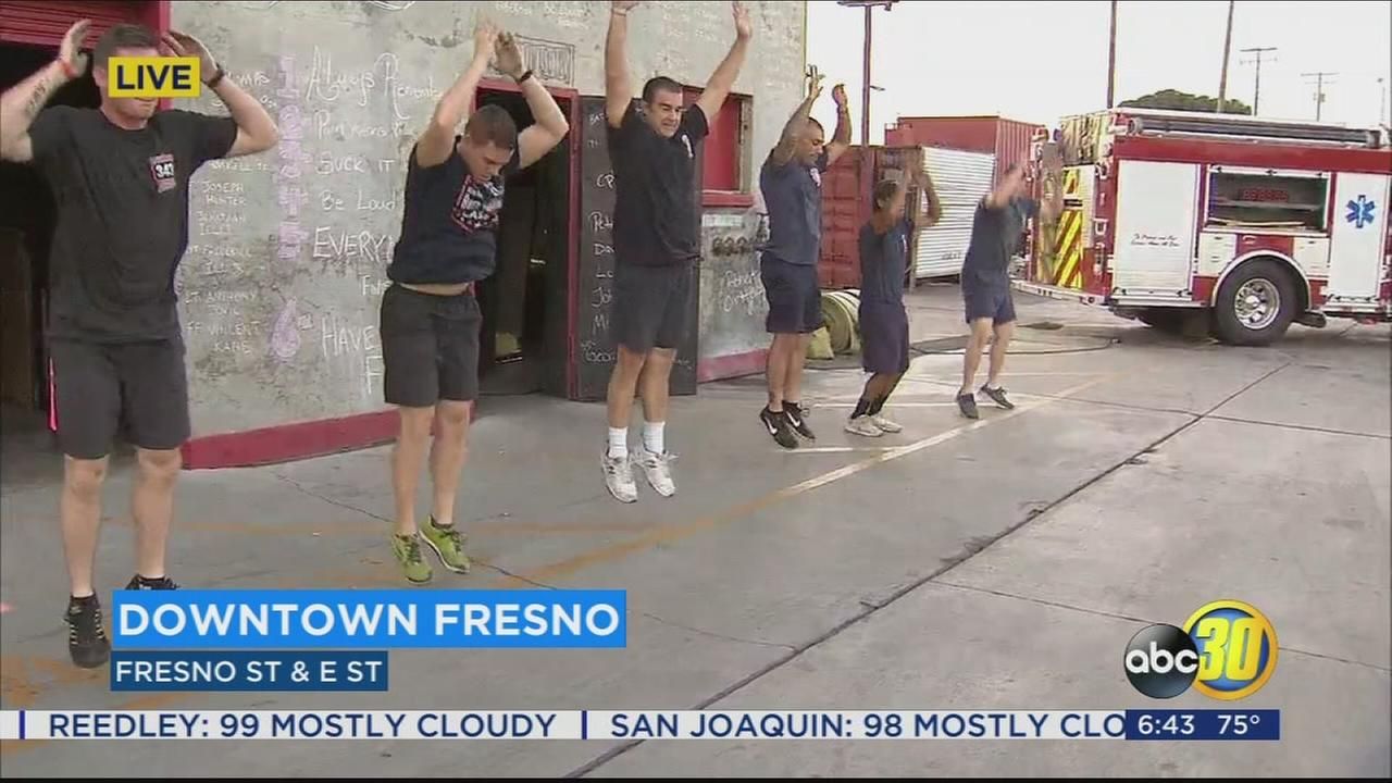 Fresno firefighters take part in burpee challenge to honor firefighters killed in 9/11 attack
