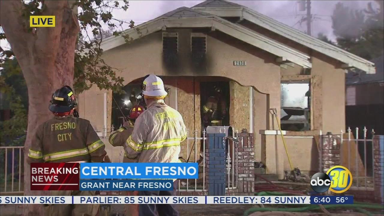 Crews battled house fire in Central Fresno