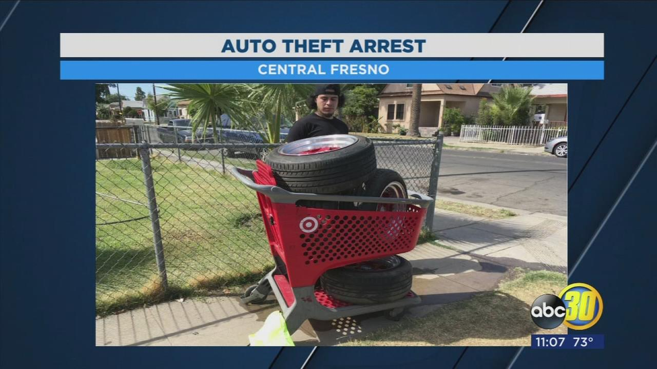Fresno Police arrest man pushing shopping cart with stolen wheels and tires