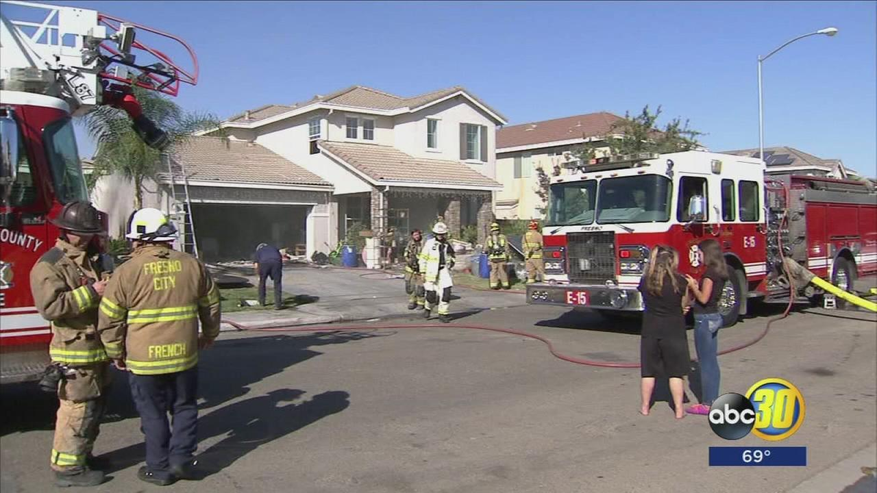 Three families are displaced after a house fire in Southeast Fresno