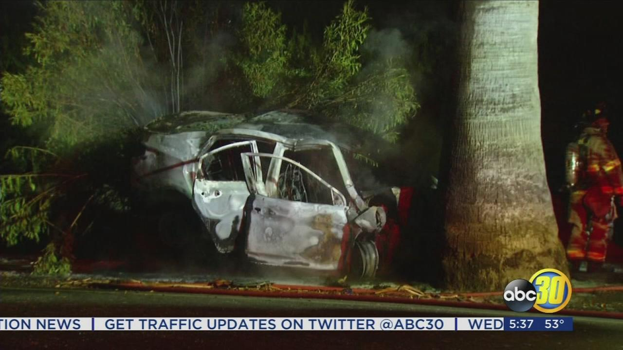 Car catches fire after crash in Southwest Fresno, 2 people injured