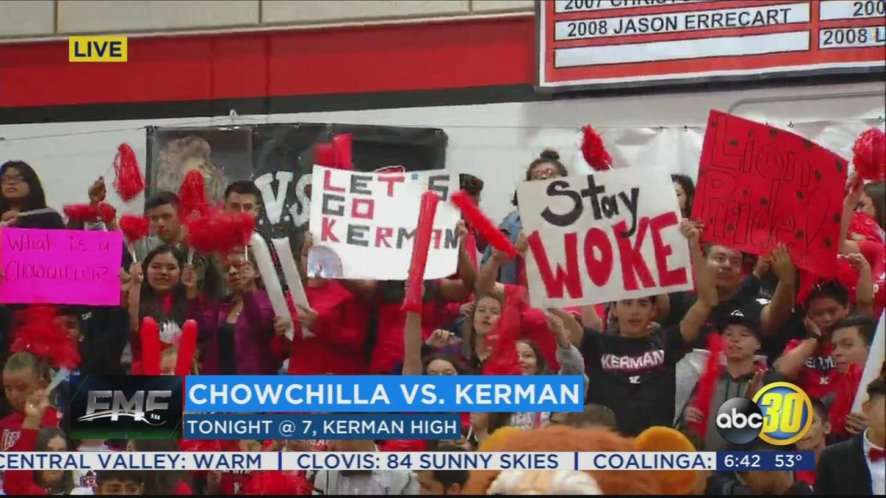 Kerman High School getting ready to take on Chowchilla at homecoming game