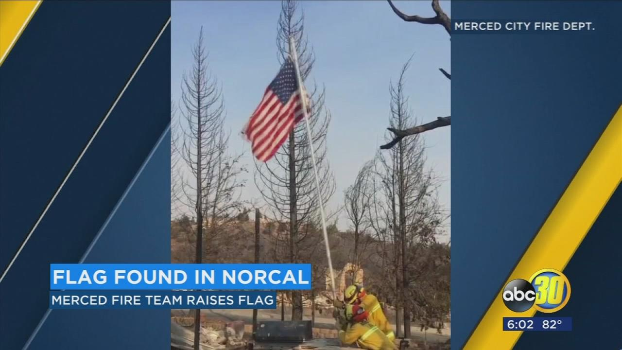 Merced FD finds unharmed flag among NorCal fire ashes