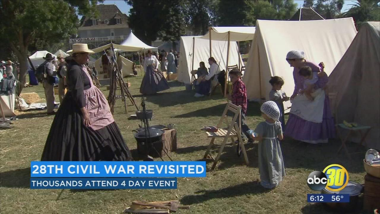 Today was the last day for families across the valley to take a trip back into time for the 28th civil war revisited at Kearney Park in Southwest Fresno.