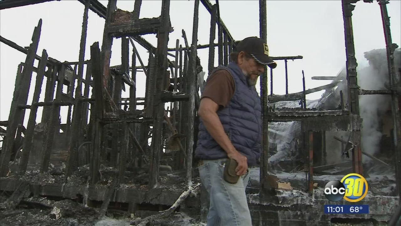 Hanford man escapes fire that destroyed his home