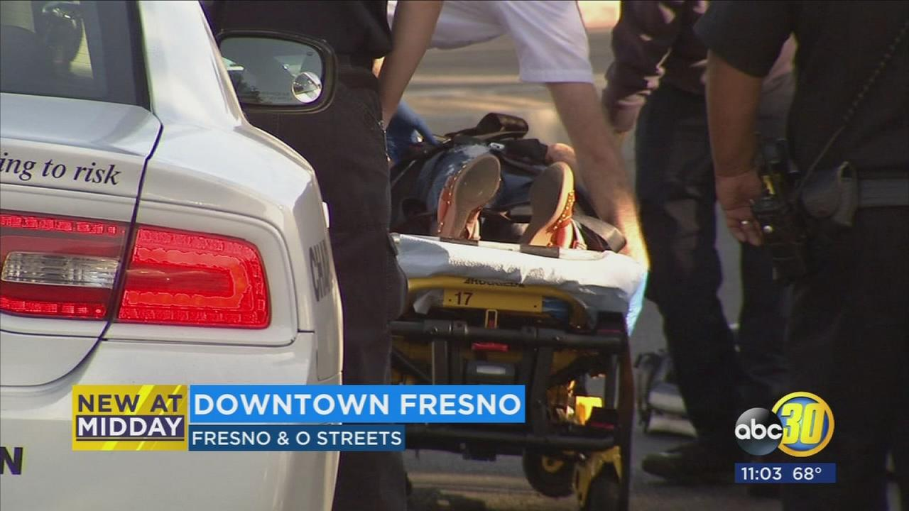 Woman hit by car while crossing the street in Downtown Fresno