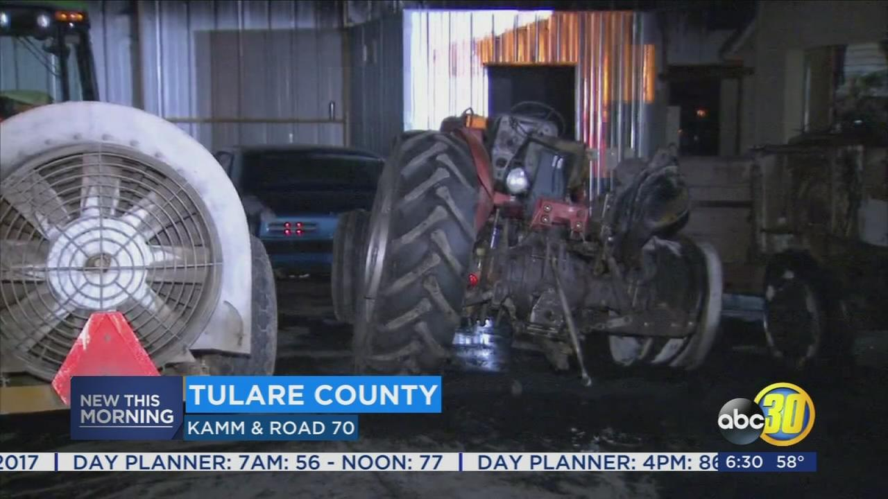 Crews battle early morning farming equipment fire near Dinuba