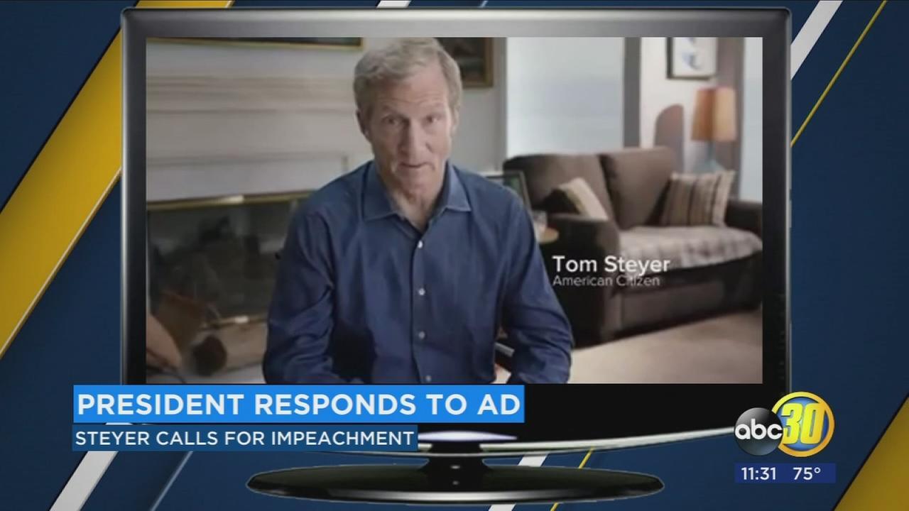 Trump responds to billionaire Tom Steyer urging impeachment