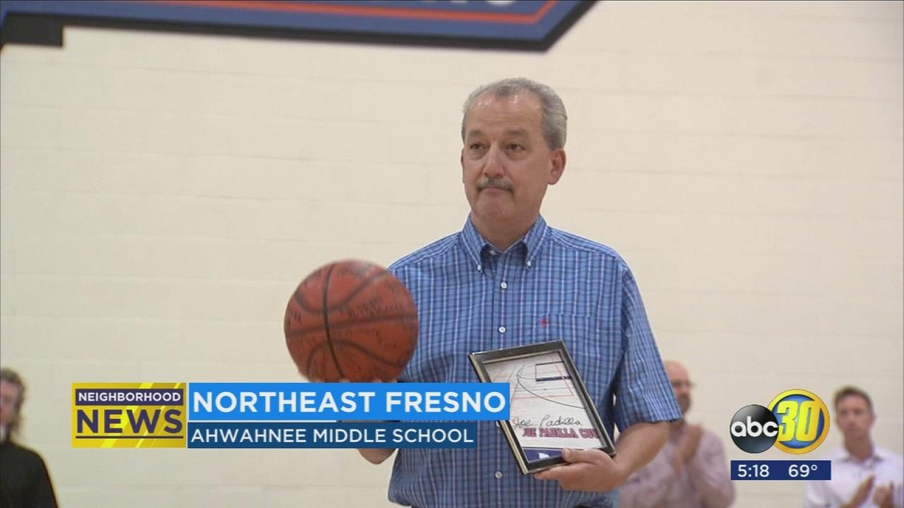 Students and faculty at Ahwanhee Middle School honor their beloved coach as a retirement surprise