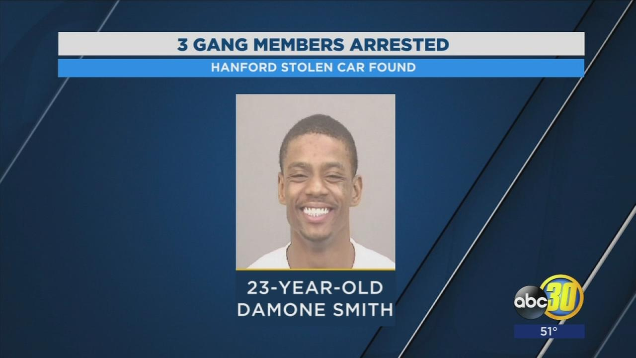 Gang members are in custody after being found with a stolen vehicle