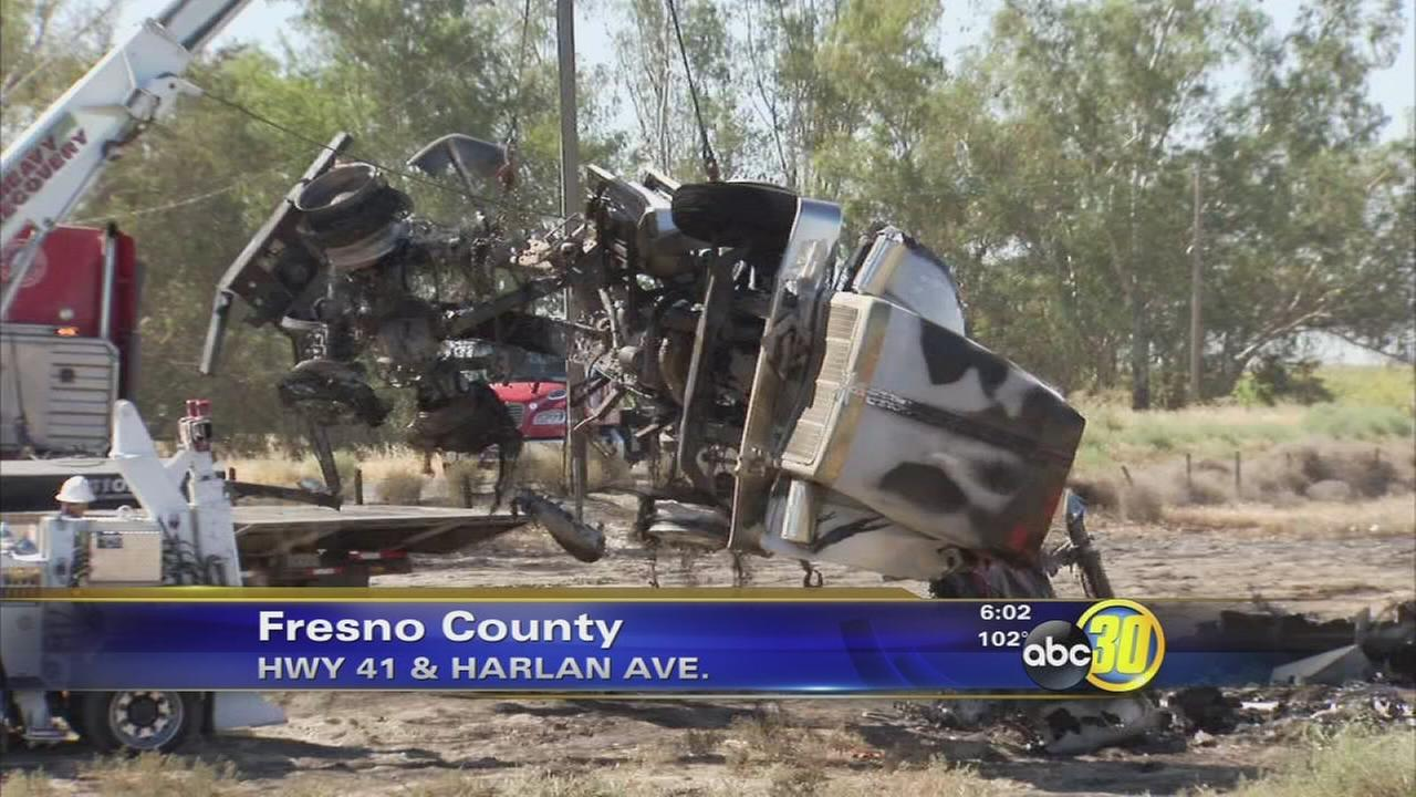 Fiery big rig crash kills 1 in Fresno County