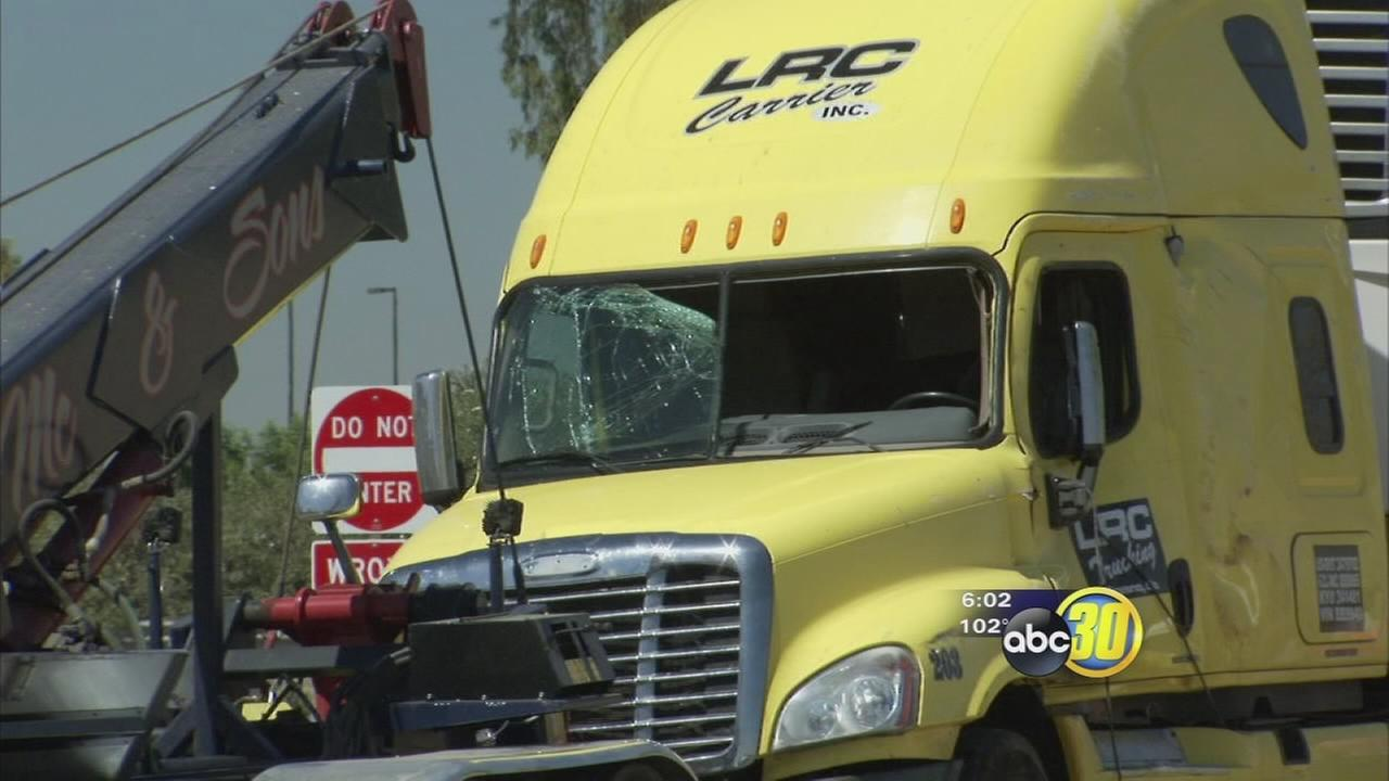 Big rig carrying 30K pounds of meat overturns in Tulare
