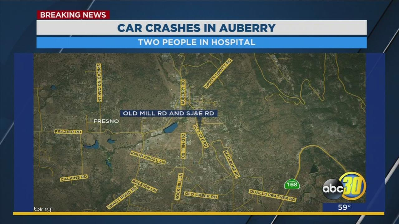 Two people hospitalized after a vehicle rolled over in Auberry