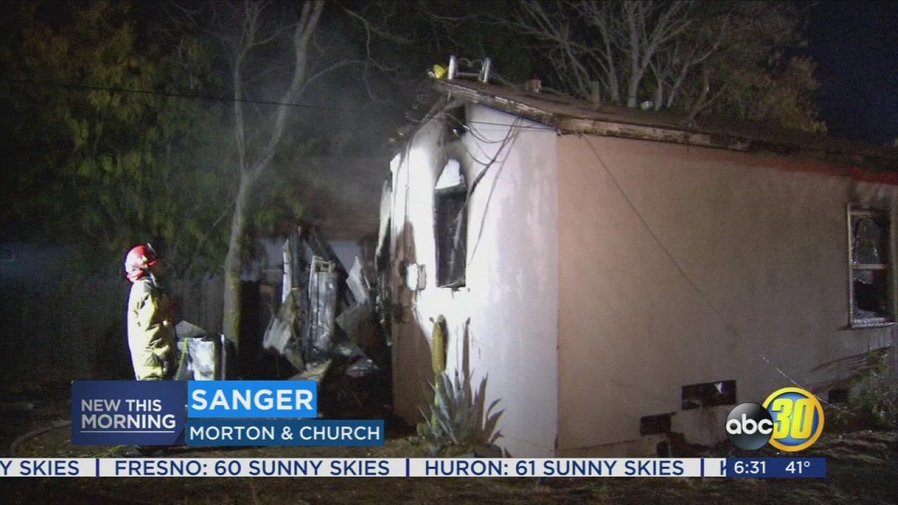 Fire destroys home in Sanger