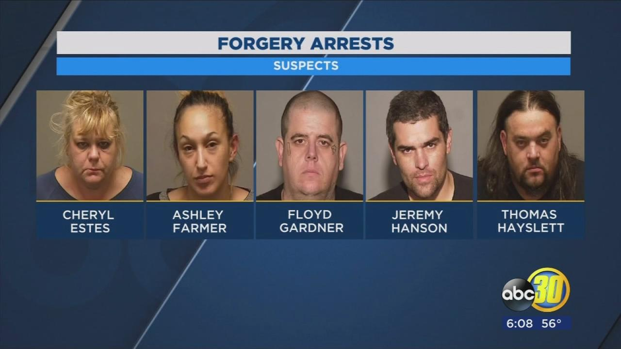 5 arrested on charges of fraud and forgery, police say