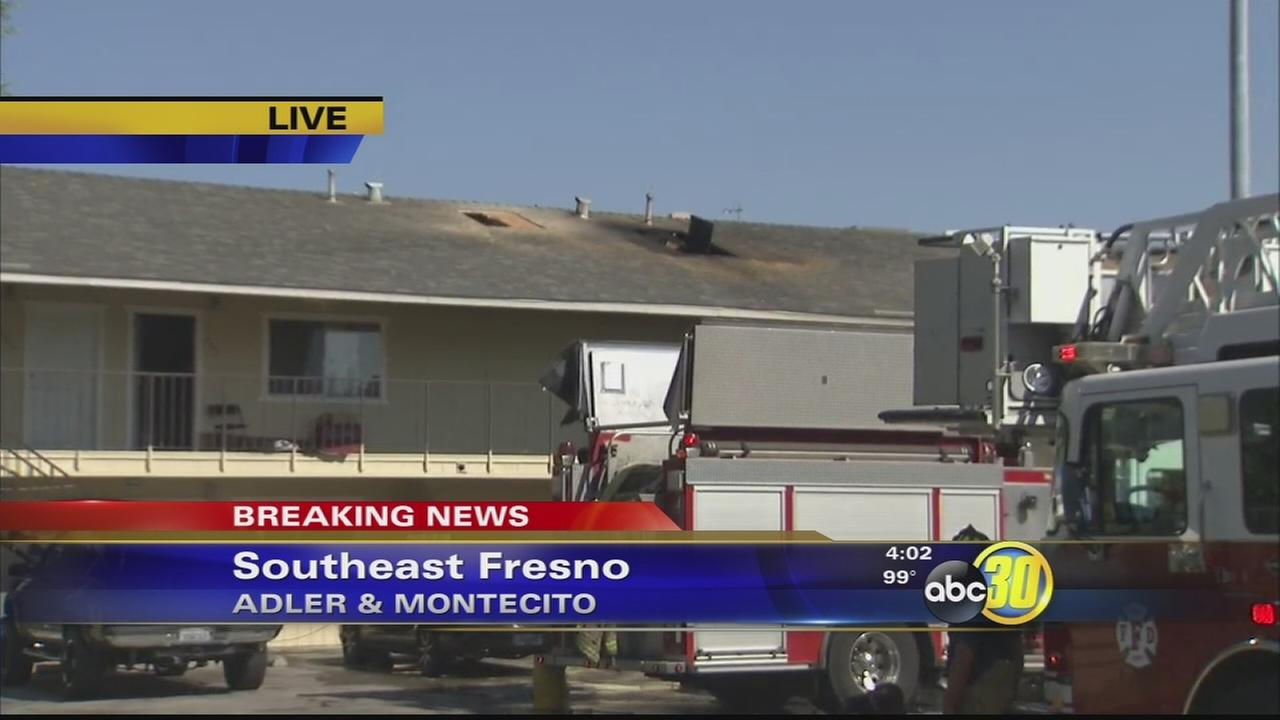 3-alarm apartment fire burns in Southeast Fresno