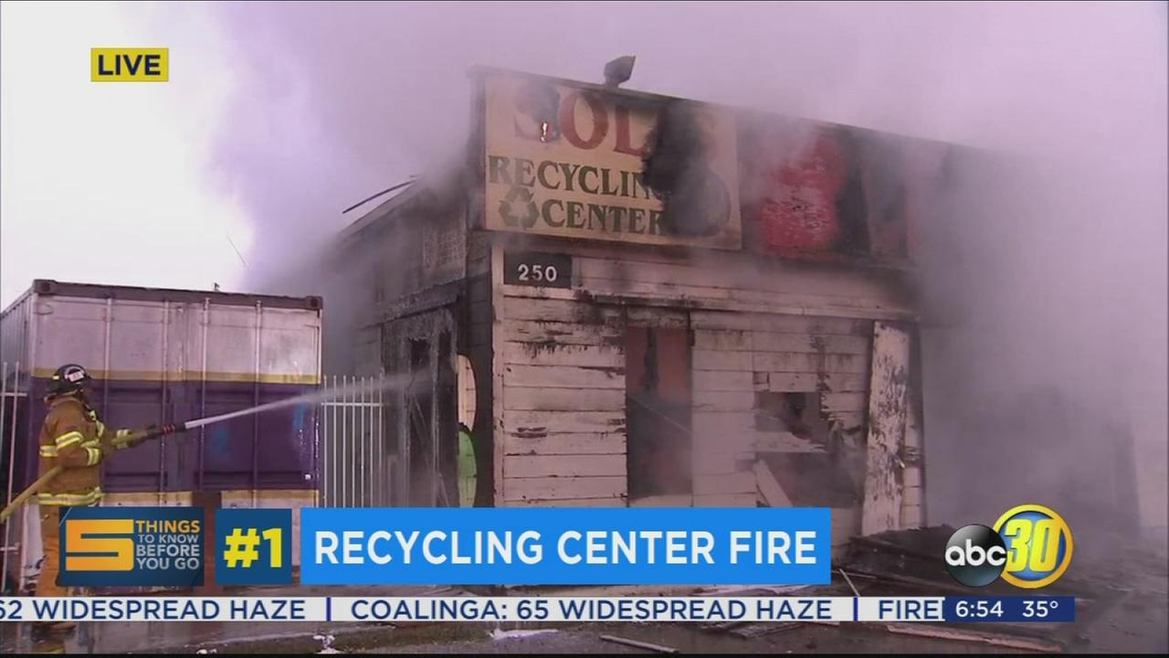 Crews battle early morning fire at recycling center in Farmersville