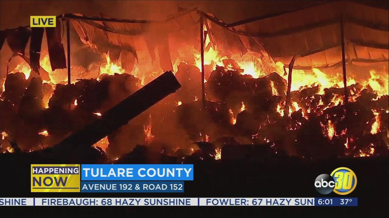 Crews battle haystack fire in Tulare County